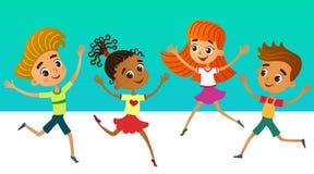 Συλλογή των ευτυχών παιδιών στις διαφορετικές θέσεις διανυσματική απεικόνιση