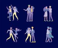 Συλλογή των ζευγαριών των χορευτών Άνδρες και γυναίκες που εκτελούν το χορό στο σχολείο, στούντιο Αρσενικοί και θηλυκοί χαρακτήρε απεικόνιση αποθεμάτων