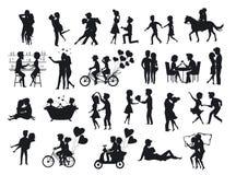 Συλλογή των ζευγών σκιαγραφιών ερωτευμένων κατά την ημερομηνία ελεύθερη απεικόνιση δικαιώματος