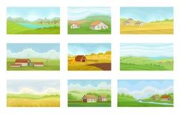 Συλλογή των θερινών αγροτικών τοπίων με τα του χωριού σπίτια, λιβάδι με την πράσινη και κίτρινη χλόη, τη γεωργία και την καλλιέργ ελεύθερη απεικόνιση δικαιώματος