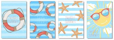Συλλογή των θερινών καρτών στο θέμα θάλασσας r Hand-drawn ελεύθερη απεικόνιση δικαιώματος
