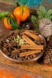 Συλλογή των καρυκευμάτων για το χειμώνα και τις ημέρες των Χριστουγέννων, που χρησιμοποιείται για το bak Στοκ φωτογραφία με δικαίωμα ελεύθερης χρήσης