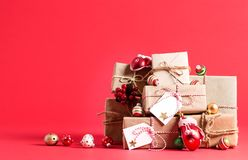 Συλλογή των κιβωτίων χριστουγεννιάτικου δώρου Στοκ Εικόνες