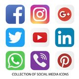 Συλλογή των κοινωνικών εικονιδίων και των λογότυπων μέσων διανυσματική απεικόνιση