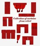 Συλλογή των κουρτινών από το βελούδο απεικόνιση αποθεμάτων