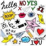 Συλλογή των λεκτικών φυσαλίδων doodle και των στοιχείων σχεδίου Ελεύθερη απεικόνιση δικαιώματος