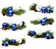 Συλλογή των μπλε και ασημένιων σφαιρών διακοσμήσεων Χριστουγέννων φωτογραφιών Στοκ Εικόνα