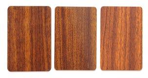 Συλλογή των ξύλινων πλαστικών κενών καρτών Στοκ φωτογραφίες με δικαίωμα ελεύθερης χρήσης
