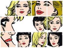 Συλλογή των πορτρέτων blondes και των brunettes ελεύθερη απεικόνιση δικαιώματος