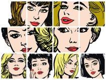 Συλλογή των πορτρέτων blondes και των brunettes Στοκ φωτογραφία με δικαίωμα ελεύθερης χρήσης