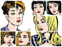 Συλλογή των πορτρέτων blondes και των brunettes Στοκ Φωτογραφία
