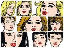 Συλλογή των πορτρέτων blondes και των brunettes Στοκ εικόνα με δικαίωμα ελεύθερης χρήσης
