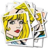 Συλλογή των πορτρέτων blondes και των brunettes Στοκ εικόνες με δικαίωμα ελεύθερης χρήσης