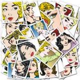 Συλλογή των πορτρέτων blondes και των brunettes Στοκ Φωτογραφίες