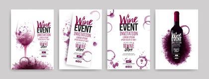 Συλλογή των προτύπων με τα σχέδια κρασιού Φυλλάδια, αφίσες, κάρτες πρόσκλησης, εμβλήματα προώθησης, επιλογές Το κρασί λεκιάζει το διανυσματική απεικόνιση