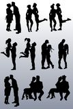 Συλλογή των σκιαγραφιών των ζευγών των ανθρώπων διανυσματική απεικόνιση