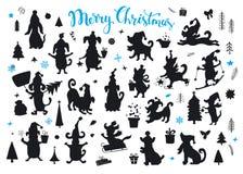 Συλλογή των σκιαγραφιών σκυλιών Χριστουγέννων και καλής χρονιάς κινούμενων σχεδίων Στοκ Εικόνα