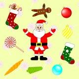 Συλλογή των στοιχείων Χριστουγέννων Σύνολο νέων παραδοσιακών συμβόλων έτους φυσικό διανυσματικό ύδωρ απεικόνισης σχεδίου φρέσκο σ απεικόνιση αποθεμάτων