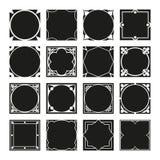 Συλλογή των τετραγωνικών διακοσμητικών πλαισίων συνόρων με γεμισμένο το στερεό υπόβαθρο Στοκ φωτογραφίες με δικαίωμα ελεύθερης χρήσης