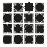 Συλλογή των τετραγωνικών διακοσμητικών πλαισίων συνόρων με γεμισμένο το στερεό υπόβαθρο Στοκ Εικόνα