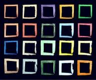 Συλλογή των τετραγωνικών μαύρων συρμένων χέρι grunge πλαισίων, σύνορα καθορισμένα στοιχεία σχεδίου που τί&th απεικόνιση αποθεμάτων