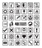 Συλλογή των τετραγωνικών συσκευάζοντας συμβόλων με το διανυσματικό σχήμα Στοκ Φωτογραφία