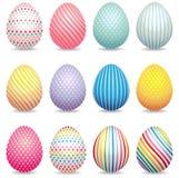 Συλλογή των τρισδιάστατων διακοσμημένων αυγών Πάσχας διανυσματική απεικόνιση