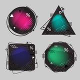 Συλλογή των υποβάθρων οι γεωμετρικές μορφές με τα ζωηρόχρωμα στοιχεία Στοκ Εικόνα