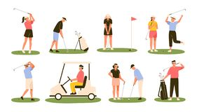Συλλογή των φορέων γκολφ που απομονώνονται στο άσπρο υπόβαθρο Δέσμη των αρσενικών και θηλυκών παικτών γκολφ που χτυπούν τη σφαίρα απεικόνιση αποθεμάτων