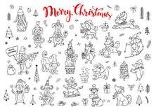 Συλλογή των χαριτωμένων αστείων Χριστουγέννων και καλής χρονιάς 2018 που χαιρετούν συγχαίροντας τα σκυλιά ύφους σκίτσων doodle απεικόνιση αποθεμάτων
