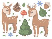 Συλλογή των χαριτωμένων δασικών ζωικών ελαφιών ύφους κινούμενων σχεδίων με τη διανυσματική απεικόνιση μανιταριών, δέντρων πεύκων, διανυσματική απεικόνιση