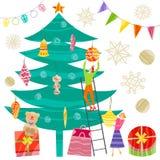 Συλλογή των Χριστουγέννων και των νέων στοιχείων έτους Διανυσματικό επίπεδο σχέδιο με τη σύσταση διανυσματική απεικόνιση