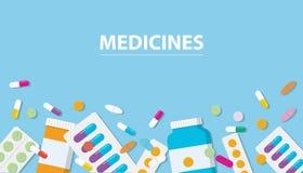 Συλλογή φαρμάκων φαρμάκων με το έμβλημα ελεύθερου χώρου με το μπλε υπόβαθρο απεικόνιση αποθεμάτων