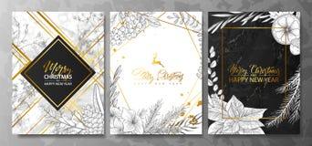 2019 συλλογή Χαρούμενα Χριστούγεννας και καρτών πολυτέλειας καλής χρονιάς με τη μαρμάρινη σύσταση, τη χρυσή γεωμετρική μορφή και  διανυσματική απεικόνιση