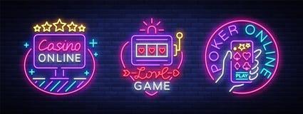 Συλλογή χαρτοπαικτικών λεσχών των σημαδιών νέου Πρότυπο σχεδίου στο ύφος νέου Μηχανήματα τυχερών παιχνιδιών με κέρματα, σε απευθε διανυσματική απεικόνιση