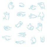 Συλλογή χεριών κινούμενων σχεδίων Στοκ Εικόνες