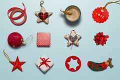 Συλλογή Χριστουγέννων, δώρα και διακοσμητικές διακοσμήσεις photogr Στοκ Φωτογραφίες