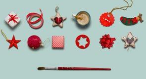 Συλλογή Χριστουγέννων, δώρα και διακοσμητικές διακοσμήσεις photogr Στοκ Εικόνα