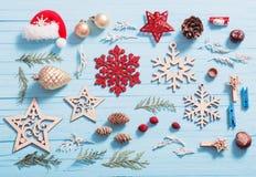 Συλλογή Χριστουγέννων στο ξύλινο υπόβαθρο Στοκ Εικόνα