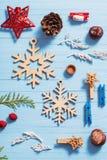 Συλλογή Χριστουγέννων στο ξύλινο υπόβαθρο Στοκ εικόνες με δικαίωμα ελεύθερης χρήσης