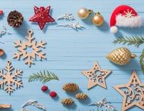 Συλλογή Χριστουγέννων στο ξύλινο υπόβαθρο Στοκ Εικόνες