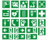 Συλλογή DIN 7010, διάνυσμα σημαδιών δρόμων διαφυγής που απομονώνεται στο άσπρο υπόβαθρο ελεύθερη απεικόνιση δικαιώματος