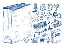 συλλογή doodles που ψωνίζει Στοκ Εικόνες