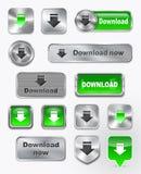 Συλλογή Download των μεταλλικών και στιλπνών κουμπιών Στοκ Φωτογραφίες