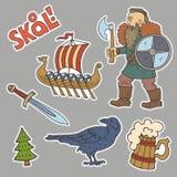 Συλλογή handdrawn stiÑ  kers με τα σύμβολα Βίκινγκ Στοκ Εικόνες