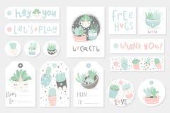 Συλλογή redy για να χρησιμοποιήσει τις θερινές ετικέττες, τις κάρτες και τις αυτοκόλλητες ετικέττες δώρων με τα succulents απεικόνιση αποθεμάτων