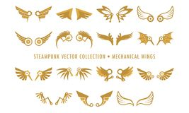 Συλλογή Steampunk που απομονώνεται - μηχανικά φτερά απεικόνιση αποθεμάτων