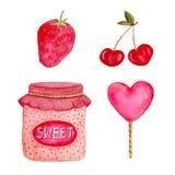 Συλλογή Watercolor με τη φράουλα, το κεράσι, την καραμέλα και τη μαρμελάδα Απομονωμένα στοιχεία σχεδίου γλυκών για τις ετικέτες,  Στοκ Φωτογραφίες