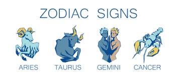 Συλλογή zodiac των σημαδιών Διανυσματική απεικόνιση πρώτων τεσσάρων Zodiacal Simbols διανυσματική απεικόνιση
