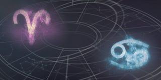 Συμβατότητα σημαδιών ωροσκοπίων Aries και καρκίνου Νυχτερινός ουρανός Abstra Στοκ Εικόνες